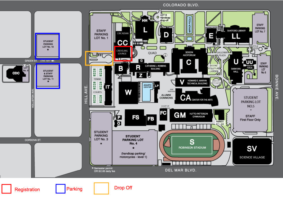 PCC - Tech Savvy Map with Parking, Drop off and Registration areas marked